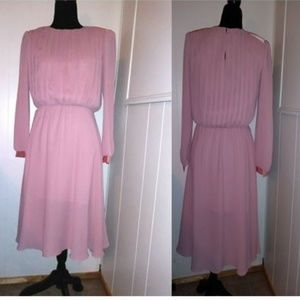 Vtg 80s Mauve Chiffon Satin Dress L/S retro midi